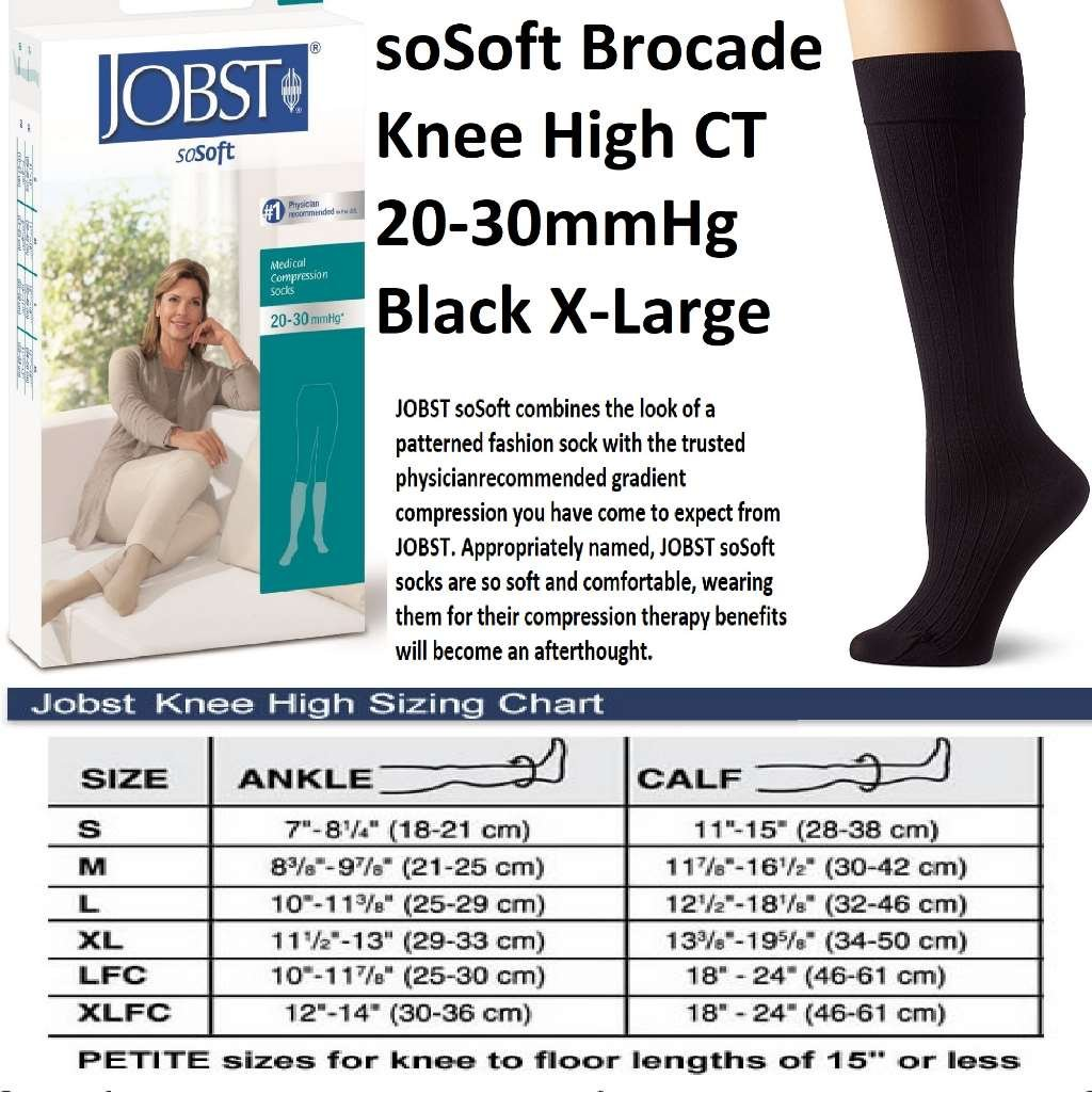 JOBST soSoft, Knee High Compression Socks, Brocade, 20-30 mmHg, Black, XL by JOBST