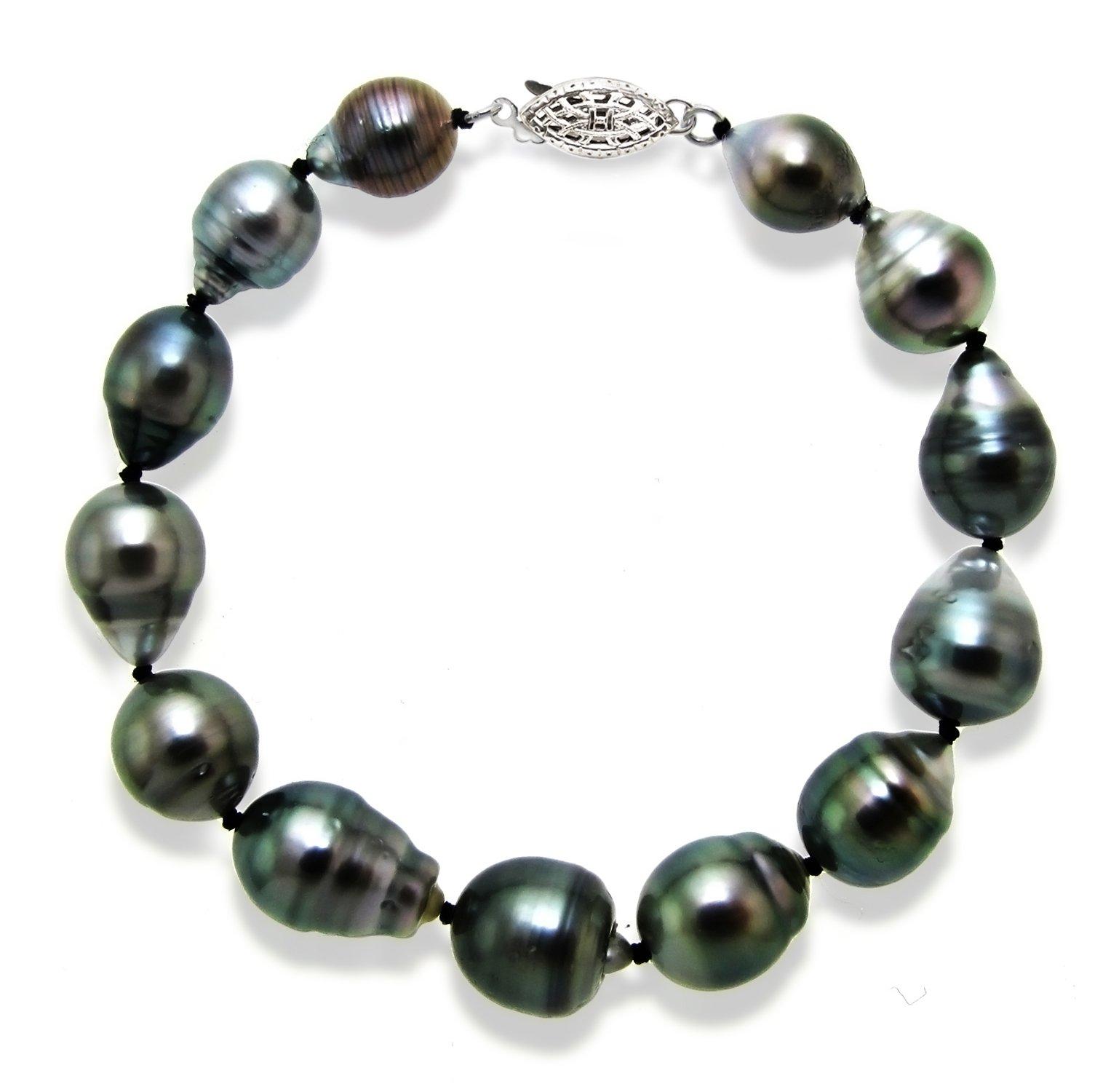 14k White Gold 8-10mm AAA Handpicked Black Baroque Tahitian Cultured Pearl Bracelet, 7.5''