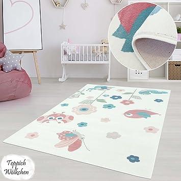 Kinderzimmer Teppich Mädchen Jungen | Fröhliche Schmetterling Sterne ...