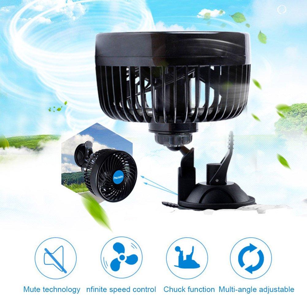 Broadroot 12 V Auto Mini Tragbare Saugnapf Luft Gebl/äse 360 /°Rotierenden Starken Wind K/ühler 01