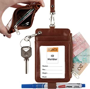 Leather Badge Holder, PLENTY Heavy Duty ID Badge Wallet with Pen Loop Key Ring,5 Card Slots, 1 Side Zipper Pocket and Neck Lanyard Strap for Offices School ID, Driver Licence (Brown)