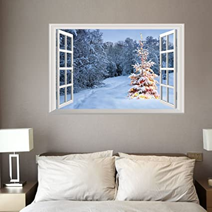 Amazon Com Christmas Wall Stickers Christmas Decorations Removable