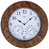 Lilyshome 14-Inch Faux-Slate Indoor or Outdoor Wall Clock with Thermometer and Hygrometer