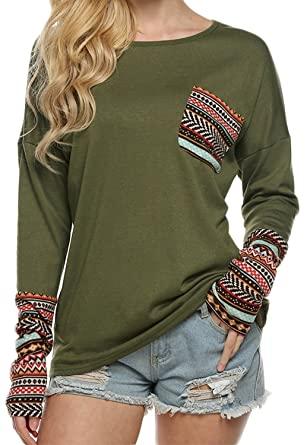 POGTMM Women's Long Sleeve O-Neck Patchwork Casual Loose T-Shirts ...