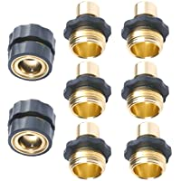 No-Leaks Pressure Washer Garden Hose Quick Connect Set , 6 Male Connects + 2 Female Connects