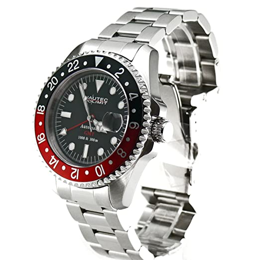 26cd942e83e Nautec No Limit Gents Watch Deep Sea Ds GMT/Strdbk: Amazon.co.uk: Watches
