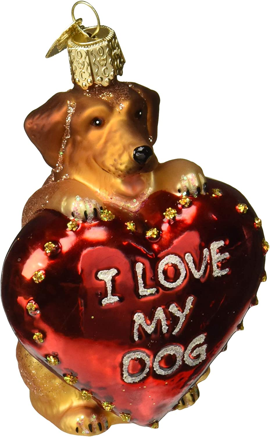 Old World Christmas Pet Lovers Glass Blown Ornaments for Christmas Tree, Love My Dog