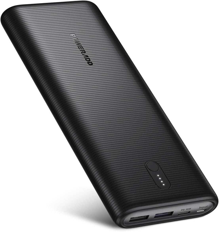 POWERADD EnergyCell II Batería Externa USB C 26800mAh con PD 30W Carga Rápida Power Bank con 2 Entrada y 3 Salida Cargador Portátil Móvil para Xiaomi Samsung Huawei iPhone iPad Macbook Tableta -Negro