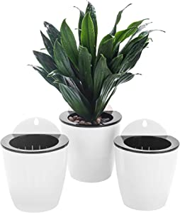 3 Pack Self Watering Wall Hanging Planter Pots Vertical Garden Window Hang Mount Indoor Outdoor Plant Flower Basket for Kitchen Herbs Balcony Railing Shelf Fence Bedroom Trellis Decor Modern White Box