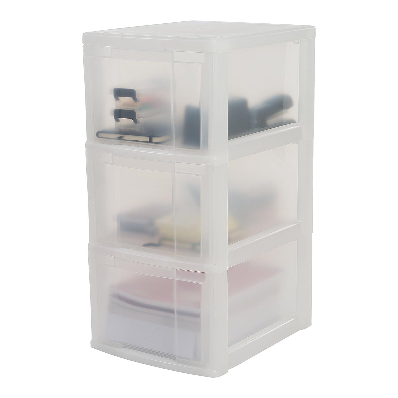 NMC-322 noir//transparent plastique Tour de rangement sur roulettes /à 4 tiroirs New Chest 30 x 38 x 62 cm Iris Ohyama
