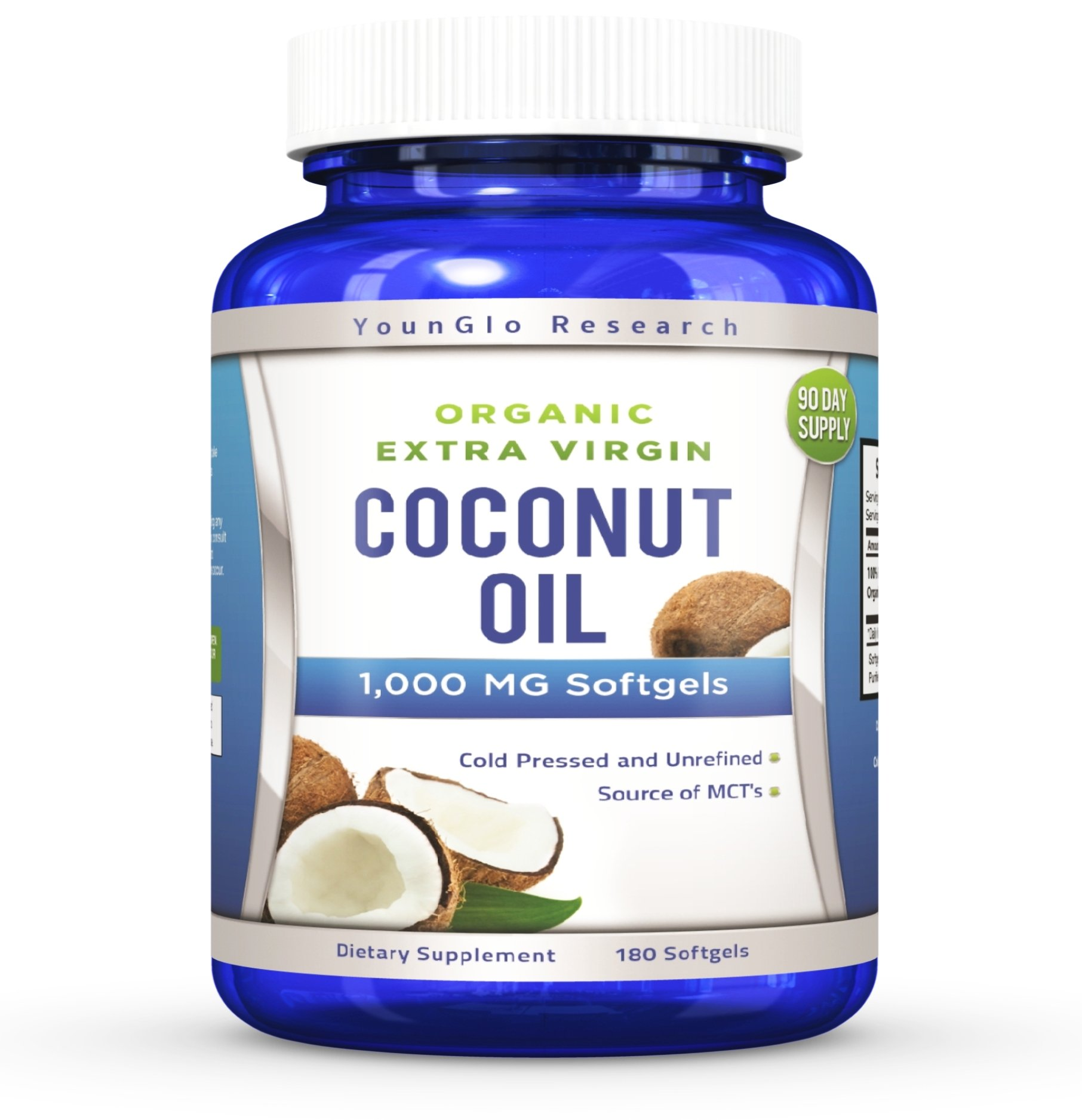 Coconut Oil Capsules - 1000 mg Organic Extra Virgin - 180 Softgels - Great Pills for Hair, Skin, Energy and Weight Management (1 Pack)
