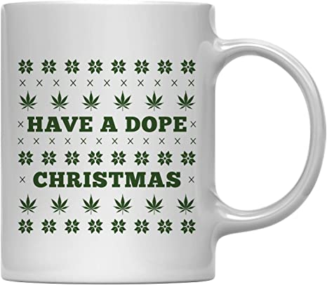 Amazon Com Andaz Press 11oz Funny Christmas Coffee Mug Gag Gift Have A Dope Christmas 1 Pack Office Coworker Family White Elephant Gift Ideas Under 10 Or 15 Kitchen Dining