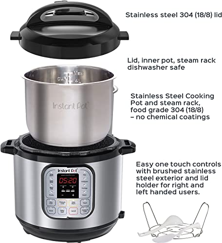 Instant Pot DUO50 7-in-1 Multi-Use Programmable Pressure Cooker, 5 Quart/900W