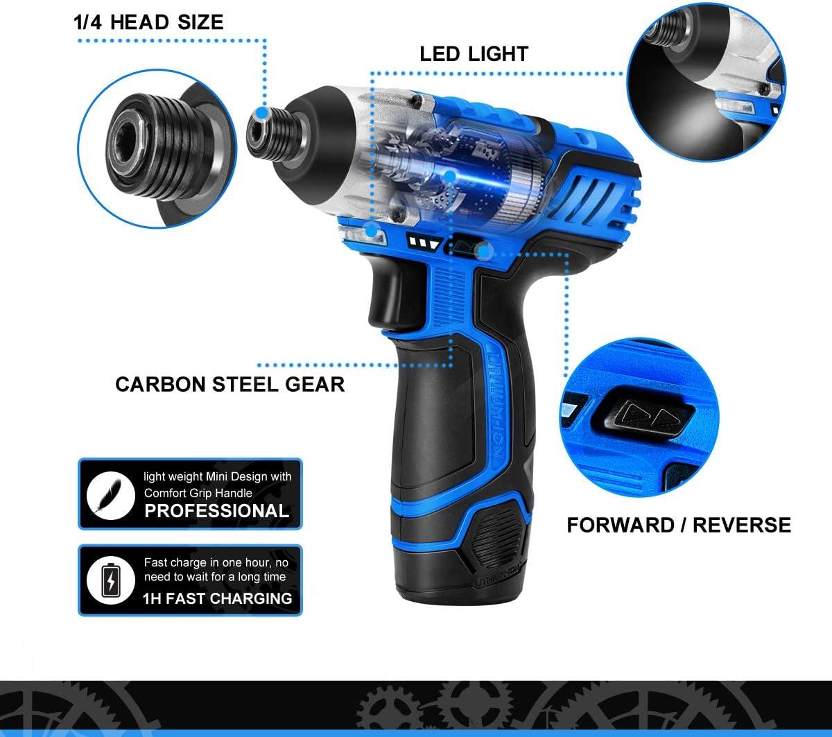 Bateria de Litio 2000 mAh con Luz de LED Prostormer 12V Atornillador El/éctrico Inal/ámbrico 100NM, 2400rpm, 100-240V