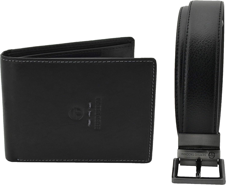 Sergio Tacchini, caja de regalo para hombre, conjunto de cinturón acortable y reversible negro y marrón y cartera de cuero genuino negro