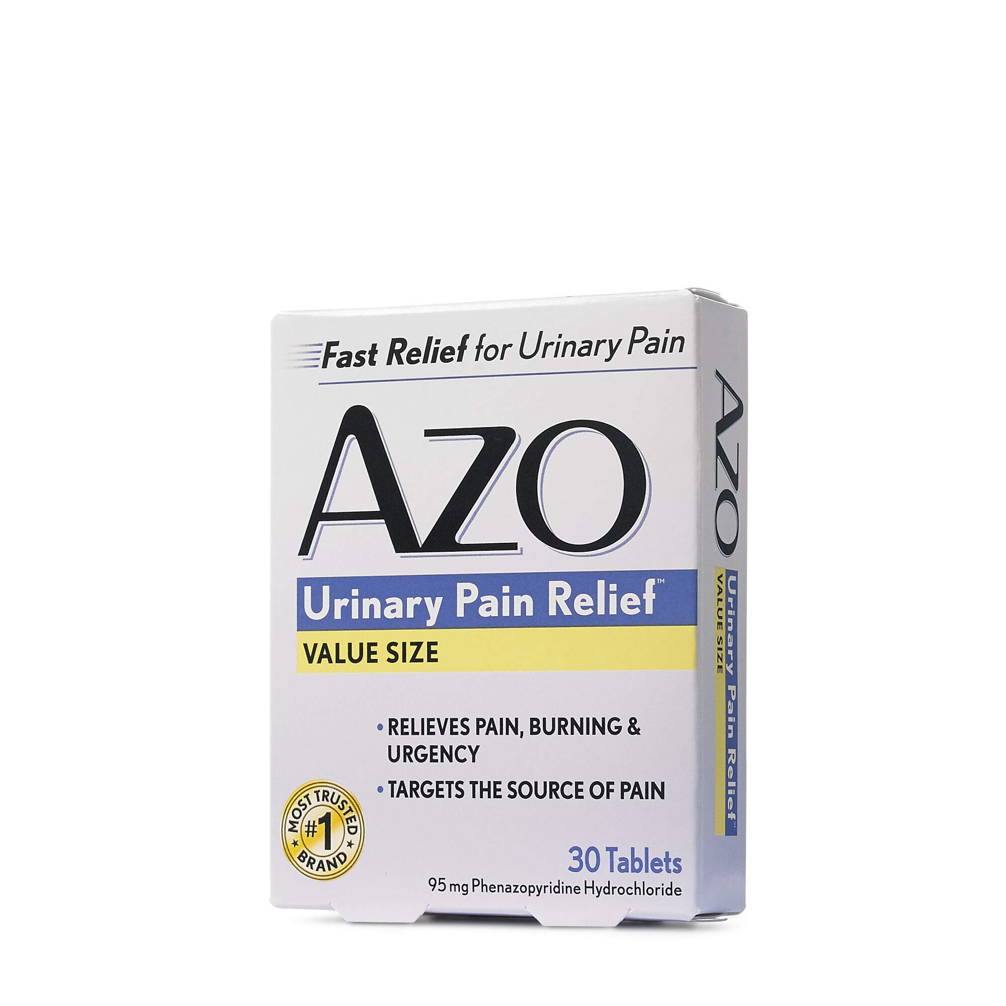 AZO Urinary Pain Relief, Dietary Supplement, Contains 95 mg Phenazopyridine Hydrochloride The #1 Ingredient Prescribed by Doctors Pharmacists Specifically for Urinary Discomfort†, 30 Count