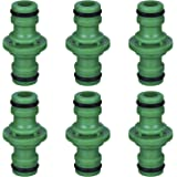 6 Pack Double Male Hose Connectors Extender for Join Garden Hose Pipe Tube (Green)