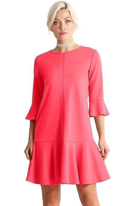 Womens Cocktail 3/4 Sleeve Ruffle Hem Shift Dress   Made In Usa by Simlu