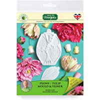 Peony/Tulip Silicone Sugarpaste Icing Mould and Veiner, Flower Pro by Nicholas Lodge for Cakes, Crafts, Cupcakes, Sugarcraft, Candies, Card Making and Clay, Food Safe Approved, Made in The UK
