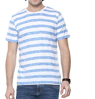 2fb6e43b36 9Zeus Half Sleeve Slim Fit Blue & White Stripes T-shirt For Men: Amazon.in:  Clothing & Accessories