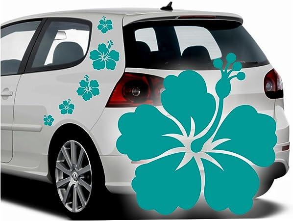 Folistick Hibiskus Hawaii Blumen Aufkleber Set Hibiskusblüten Autoaufkleber 5 Teilig TÜrkis Auto