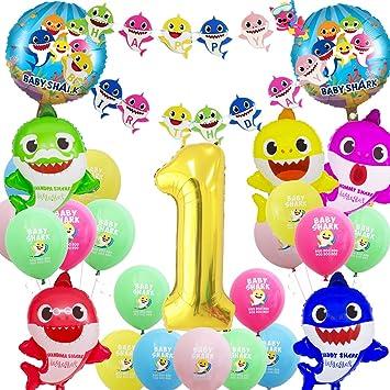 Shark Party Supplies Decoraciones de cumpleaños, Globos de lámina de tiburó , Estandarte con Forma de tiburón, Globos de Oro del número 1 para el ...