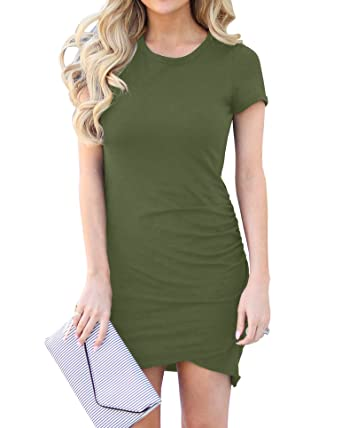3f1b807c0163 Umeko Womens Pencil Work T Shirt Dresses Sexy Short Sleeve Ruched Bodycon  Mini Dress Army Green