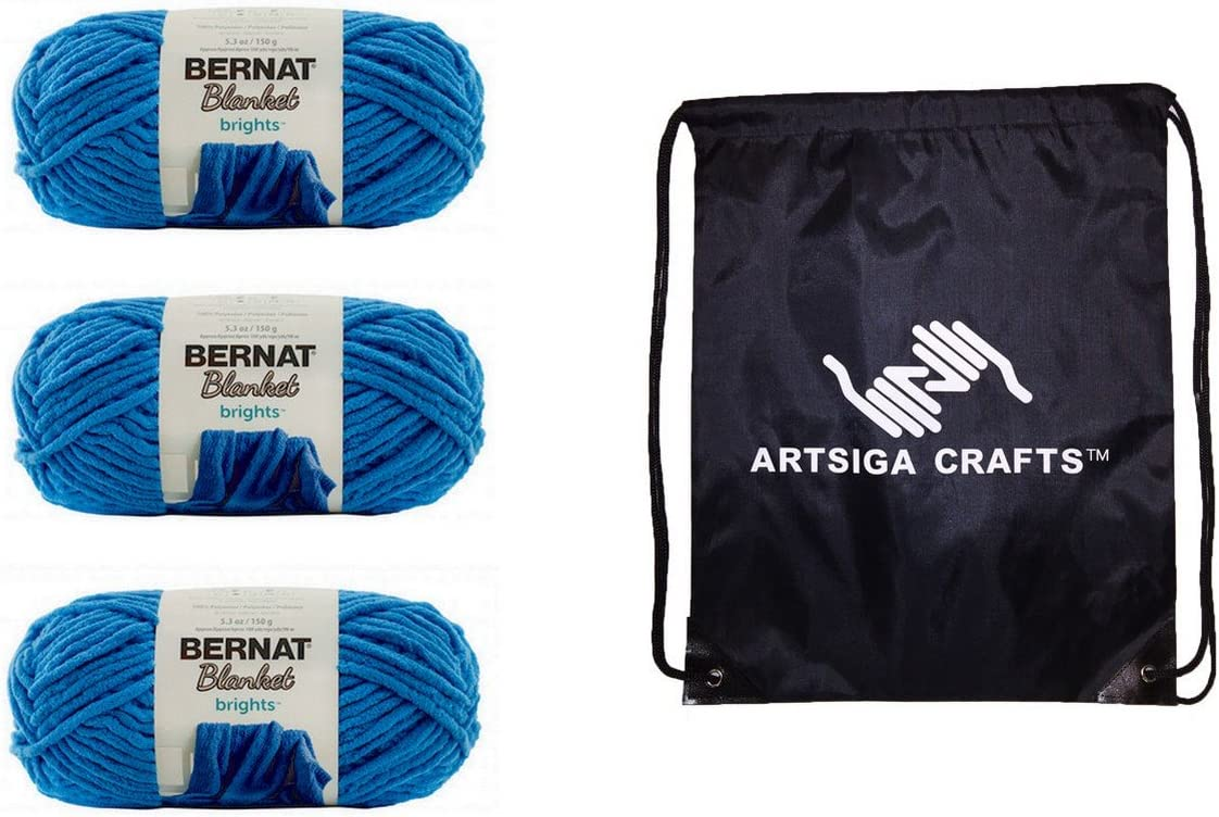 Bernat Knitting Yarn Blanket Brights Busy Blue 3-Skein Factory Pack (Same Dyelot) 161213-13005 Bundle with 1 Artsiga Crafts Project Bag