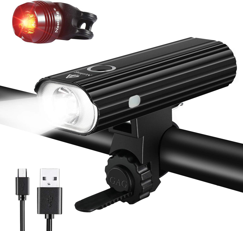 Nestling®Luz Bicicleta LED Recargable USB, 4 Modos 2400 Lúmenes IP65 Impermeable, Linterna Bicicleta con Luz Bicicleta Delantera y Trasera, Luz LED Bicicleta para Carretera y Montaña