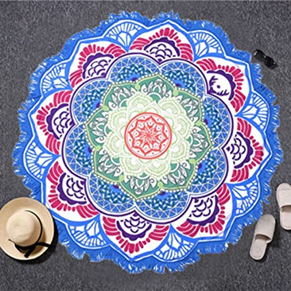 0a8c0fd246ae1 Image Unavailable. Image not available for. Color: Jin'sshop Summer Bath  Beach Towel Bohemian Floral Printed Tassels Yoga Mat Blanket Tapestry  Camping