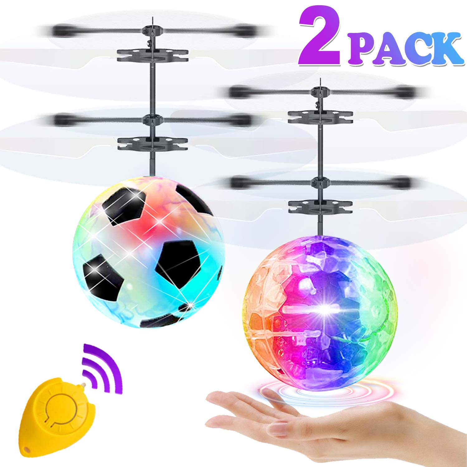 2 Pack Flying Ball Toys, RC Flying Toys for Kids Boys Girls Birthday Gifts Remote Control Drone Helicopter Rechargeable Light Up Ball Infrared Induction RC Drone for Indoor Outdoor Games by GBD