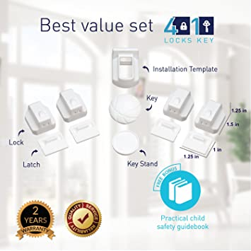Magnetic Cabinet Locks Child Safety 4 Locks /& a Key 3M Adhesive No Drill Hidden Baby Safety Locks for Baby Proofing Cabinets Childproofing Drawer Locks /& Cabinets Locks for Child Proof by Top Safety DC003