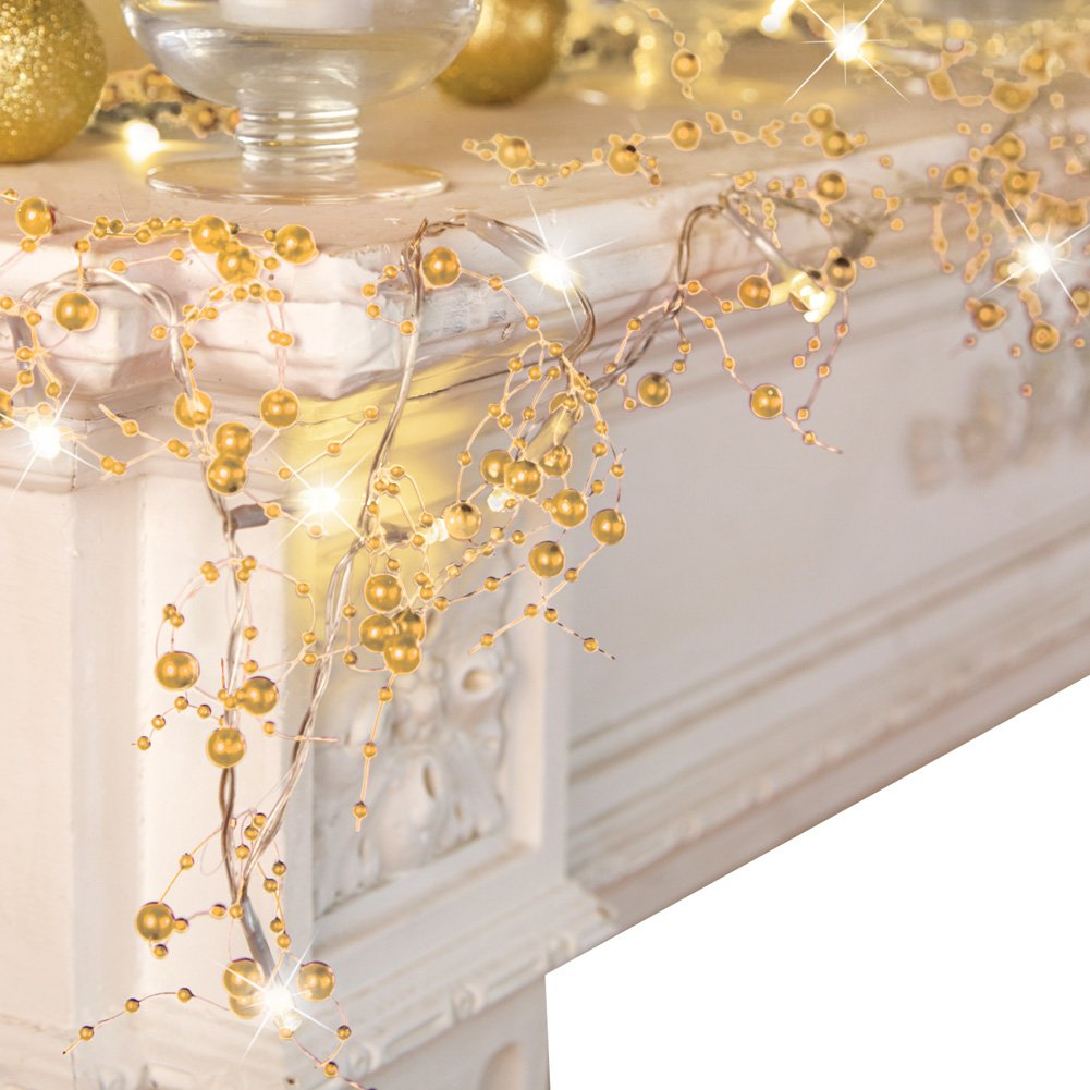 Collections Etc Indoor Christmas Decorations, Festive Lighted Berry Beaded Garland, Gold