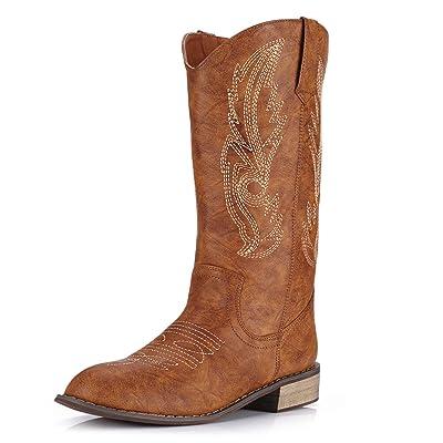J.Minever Women's Western Cowboy Boots Mid Calf Round Toe | Mid-Calf