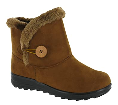 Womens Ankle Fleecy Plush Warm Lined Winter Grip Casual Pull On Boots