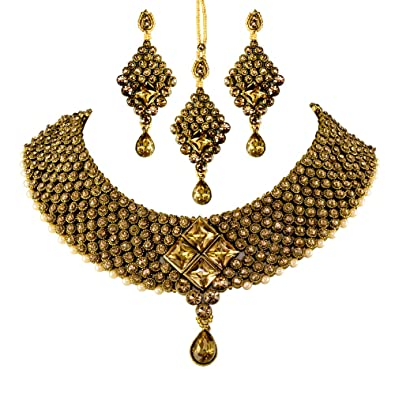 9dc071592e Hazel Art's Beautiful Designed Ethenic Gold Plated Antique kundan Choker Necklace  Set with Earrings and Maang