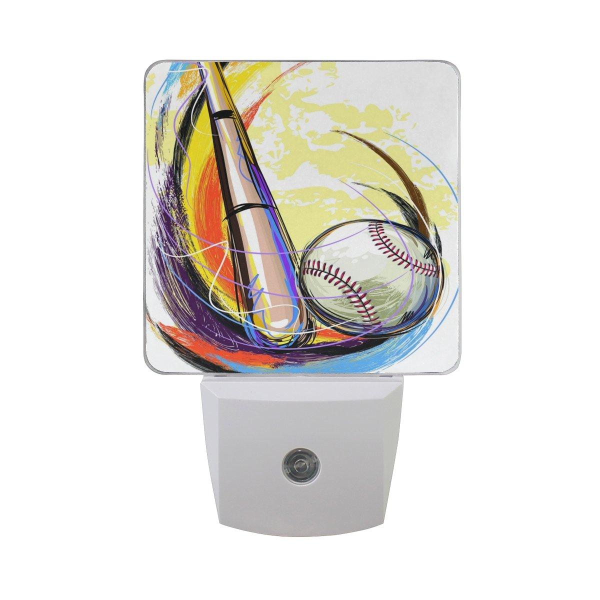 Baseball Bat Painting White LED Sensor Night Light Super Bright Power Dusk To Dawn Sensor Bedroom Kitchen Bathroom Hallway Toilet Stairs Energy Efficient Compact(2 PACK)