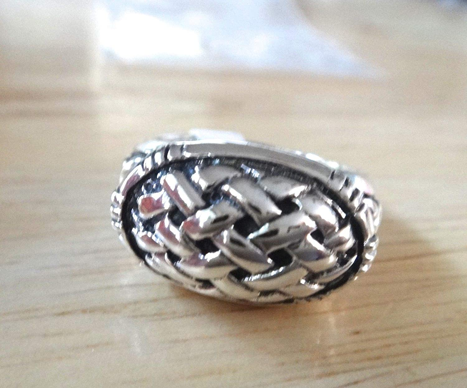 size 9 Sterling Silver 8g Heavy Solid 19x11mm Basket Weave Oval on 3mm band Ring