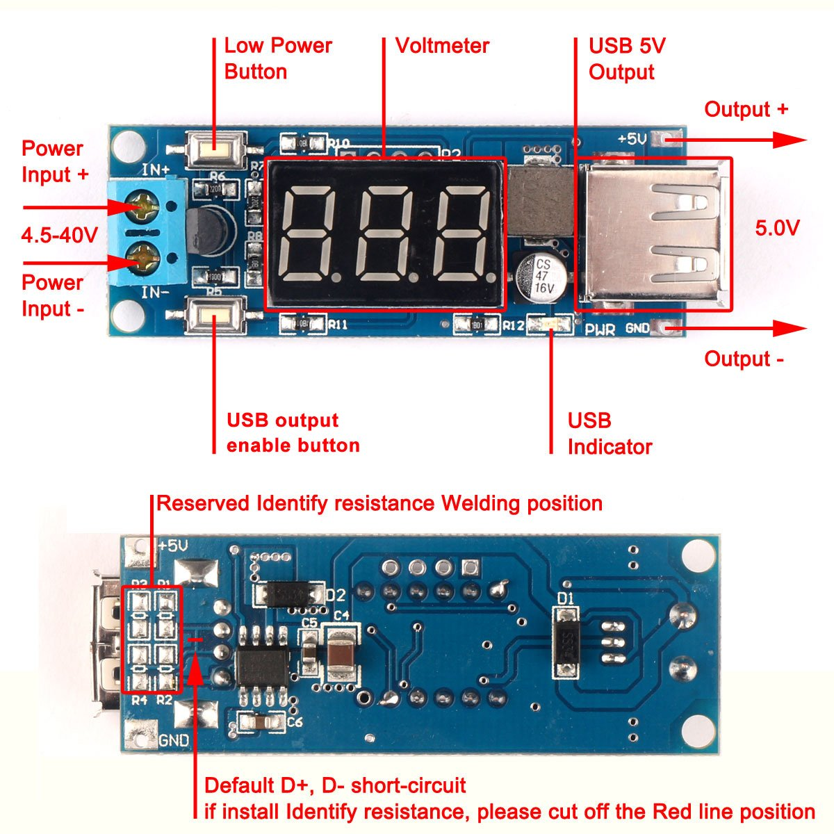 Drok Dc Buck Voltage Converter 45 12v To 5v 2a Step Electronics Technology 5vdc 12vdc Lt1070 Boost Circuit Down Volt Transformer Stabilizer Regulator Module Industrial Scientific