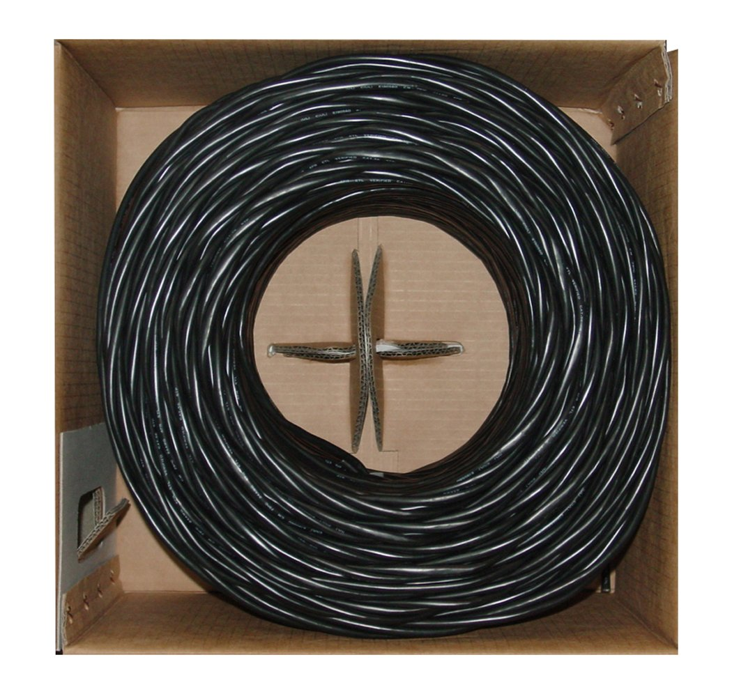 Offex Bulk Cat6 Black Ethernet Cable, Stranded, UTP (Unshielded Twisted Pair), Pullbox, 1000' (OF-10X8-022SH)