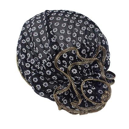 TWGONE Women Flower Cancer Chemo Hat Beanie Scarf Turban Head Wrap Cap(Free Size, Black) at Amazon Womens Clothing store: