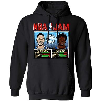81f0639b4e74 Amazon.com  NBA Jam 76ers Simmons and Embiid Philadelphia Basketball Arcade  Video Game Players Retro T Shirt Hoodie Long Sleeve  Clothing