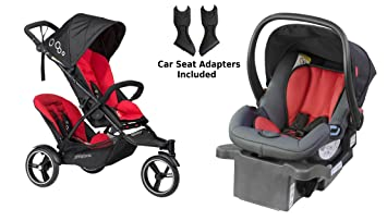 Phil And Teds 2016 Dot V3 Double Stroller In Chili With Bonus Alpha Car Seat