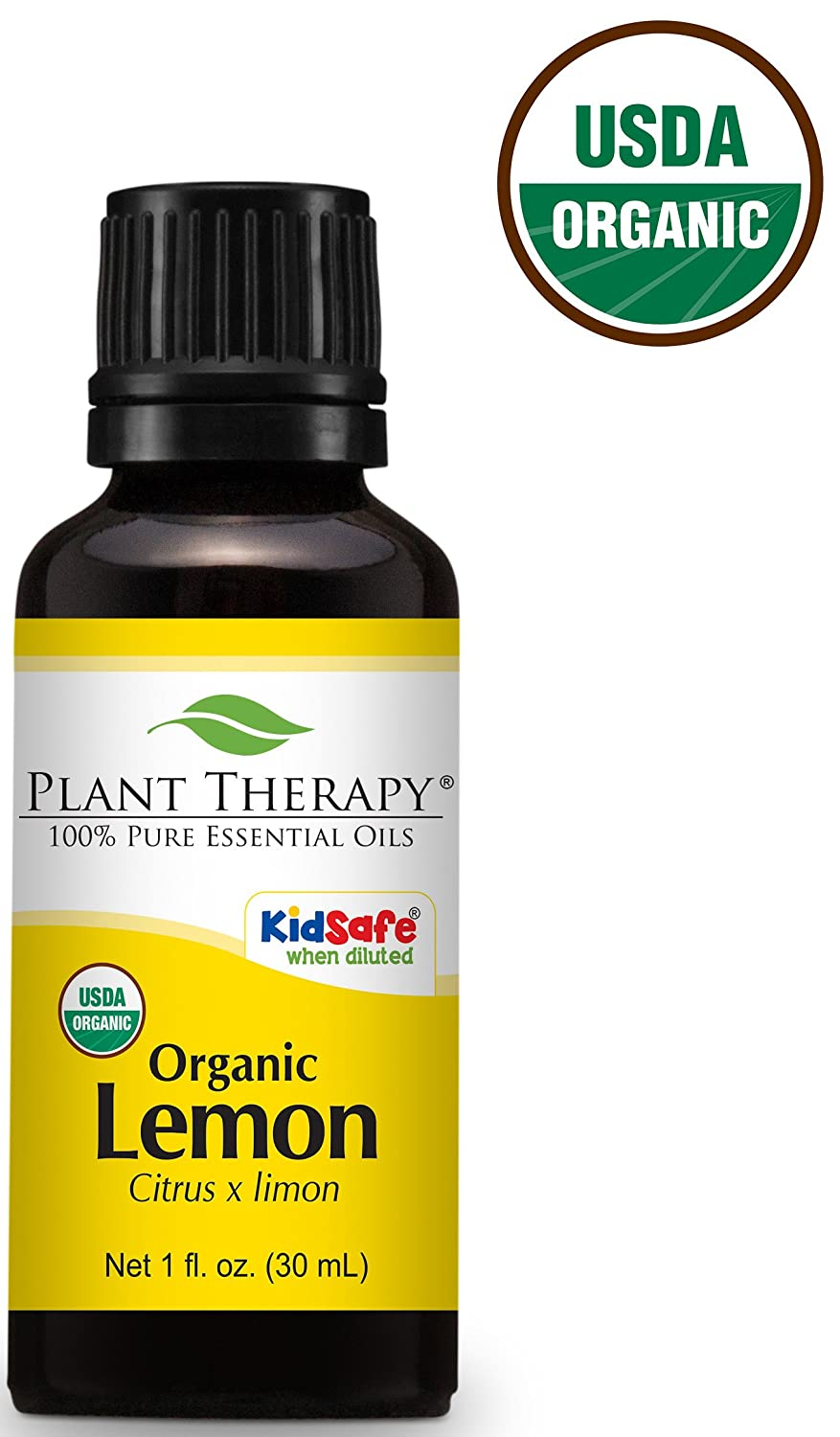 Plant Therapy USDA Certified Organic Lemon Essential Oil. 100% Pure, Undiluted, Therapeutic Grade. 10 ml (1/3 oz). Plant Therapy Inc
