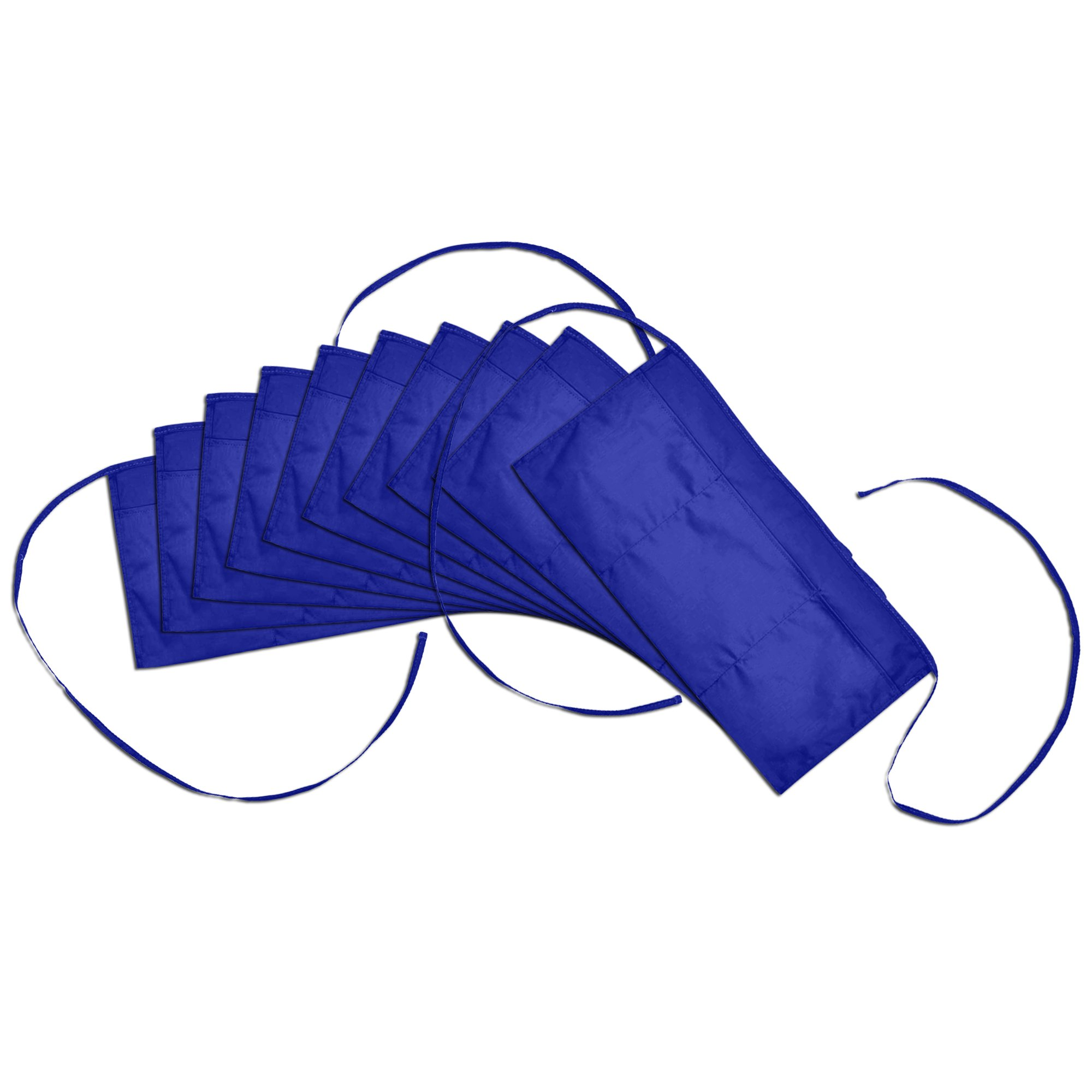 Waist Aprons Commercial Restaurant Home Bib Spun Poly Cotton Kitchen (3 Pockets) in Royal Blue 10 Pack