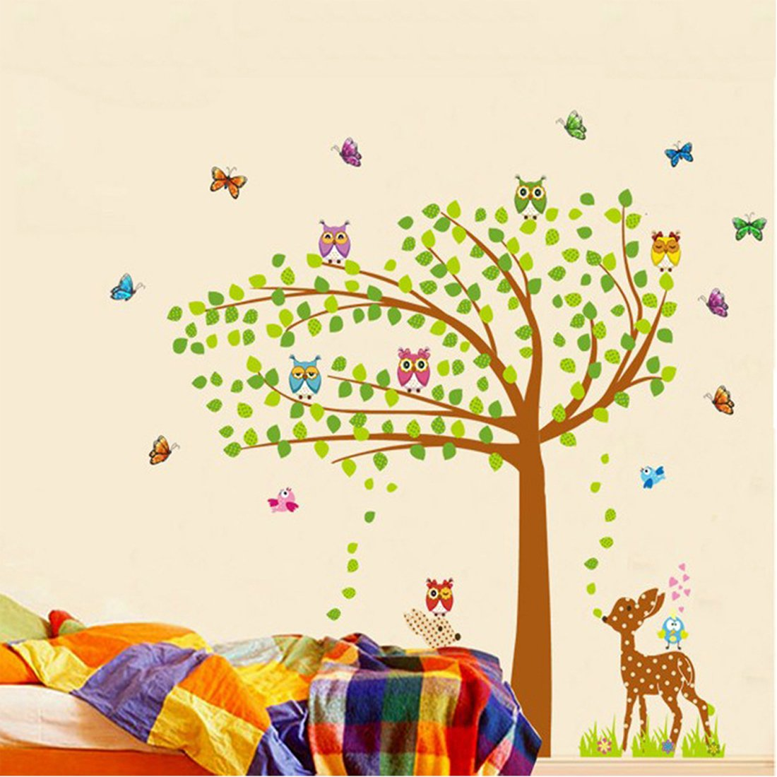 Amazon.com: Wall Decal Green Leaves Tree Birds Butterflies Deers ...