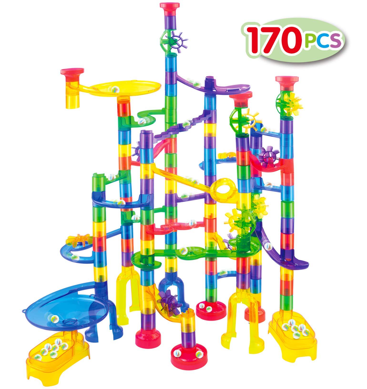 Update 90 Translucent Marbulous Pcs /& 32 Pcs DIY Marbles+6 Glass Marbles FUNTOK Marble Run Set 128Pcs Marble Maze Game Marble Race Track Building Toy for Kid Building Blocks Educational Toys