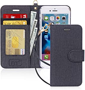 "FYY Case for iPhone 8/iPhone 7/iPhone SE (2nd) 2020 4.7""[Kickstand Feature] Luxury PU Leather Wallet Case Flip Folio Cover with [Card Slots][Wrist Strap] for iPhone 8/7/SE (2nd) 2020 4.7"" Dark"