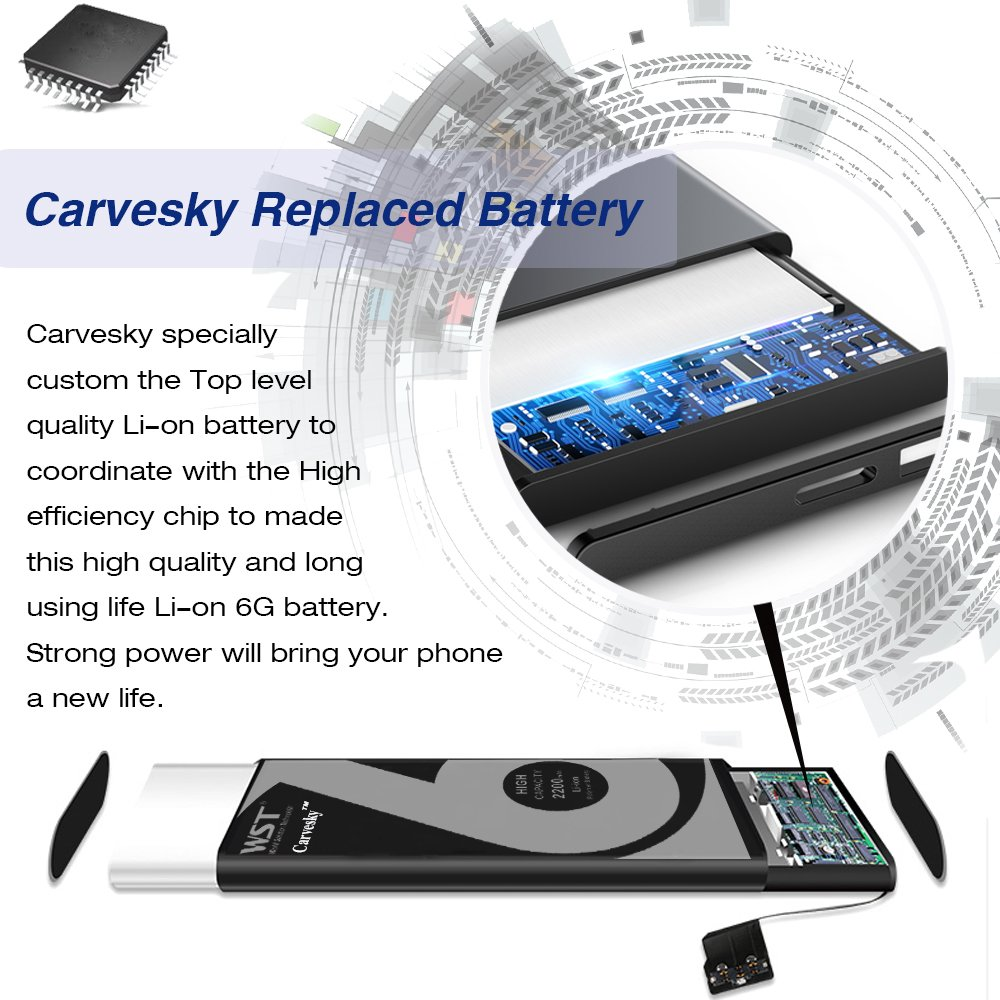 Carvesky High Capacity 2200 mAh Li-ion Battery for ip 6 Replacement with Complete Repair Tools Kits, Instruction and Screen Protector with 24 Month Warranty [Only for ip6]] by Carvesky (Image #2)