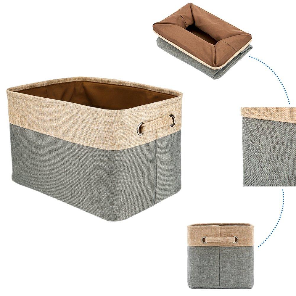 Aufbewahrungsbox LagerungsKorb Schrankwürfel für Unterwäsche Spielzeug Aufbewahrungskörbe mit Griffen, Baumwolle & Leinen